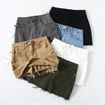 skirt Summer of 2019 S,M,L,XL Khaki, black, gray, white, light blue, army green Short skirt street High waist skirt Solid color Type A 18-24 years old Gu Gu gm015, high elasticity, 6 colors 81% (inclusive) - 90% (inclusive) other other Old, button Europe and America