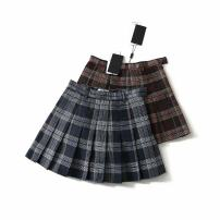 skirt Spring of 2019 XS,S,M,L,XL Blue, dark brown Short skirt street High waist Pleated skirt lattice Type A 18-24 years old 81% (inclusive) - 90% (inclusive) other other Europe and America