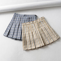 skirt Summer of 2019 XS,S,M,L Blue, Khaki Short skirt street High waist Pleated skirt lattice Type A 18-24 years old T899 home pop pleated skirt packing 38 91% (inclusive) - 95% (inclusive) other other Europe and America