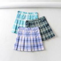 skirt Summer 2020 XS,S,M,L Short skirt Versatile High waist Pleated skirt lattice Type A 18-24 years old 71% (inclusive) - 80% (inclusive) other polyester fiber Color matching