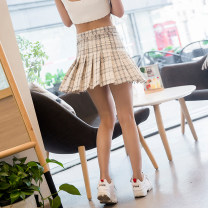 skirt Summer of 2018 XS,S,M,L,XL Khaki, black, pink, off white Short skirt street High waist A-line skirt lattice Type A 18-24 years old 31% (inclusive) - 50% (inclusive) other other Europe and America