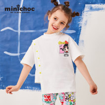 T-shirt White yellow minichoc 110cm 120cm 130cm 140cm 150cm female summer Short sleeve Crew neck leisure time There are models in the real shooting nothing cotton Cartoon animation Cotton 95% polyurethane elastic fiber (spandex) 5% Sweat absorption Summer of 2019