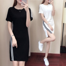Women's large Summer of 2019 Black, white Dress singleton  commute Self cultivation thin Socket Short sleeve Solid color Korean version Crew neck Polyester, cotton Three dimensional cutting routine 18-24 years old 81% (inclusive) - 90% (inclusive) Medium length other