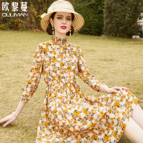 Dress Spring 2021 Yellow print 160/84A/S 165/88A/M 170/92A/L 175/96A/XL 180/100A/2XL longuette singleton  three quarter sleeve commute stand collar Decor Socket A-line skirt routine 30-34 years old Euriman Ol style printing LYQ2296 More than 95% silk Mulberry silk 100% Pure e-commerce (online only)