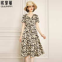 Dress Summer 2021 Black dots on white background 160/84A/S 165/88A/M 170/92A/L 175/96A/XL 180/100A/2XL Mid length dress singleton  Short sleeve commute V-neck middle-waisted Dot Socket A-line skirt routine 30-34 years old Type A Euriman Ol style printing LYQ2289A More than 95% polyester fiber