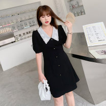 Women's large Summer 2021 Black / Collection Plus Priority Shipping Large XL, 2XL, 3XL, 4XL Dress singleton  commute Self cultivation thin Socket Short sleeve Korean version V-neck Three dimensional cutting routine L02ML19693 Mu Ling 25-29 years old zipper Medium length Lantern skirt