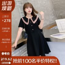 Women's large Summer 2021 Black / Collection Plus Priority Shipping Large XL, 2XL, 3XL, 4XL Dress singleton  commute Self cultivation thin Socket Short sleeve Korean version Double collar Three dimensional cutting routine L02ML19691 Mu Ling 25-29 years old zipper Medium length Lantern skirt