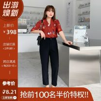 Women's large Summer 2021 Top / Collection Plus priority, pants / Collection Plus priority, top + Pants Set Large XL, 2XL, 3XL, 4XL trousers Two piece set commute easy thin Socket Short sleeve Korean version V-neck routine Three dimensional cutting routine C02ML19530+K02ML19550 Mu Ling pocket