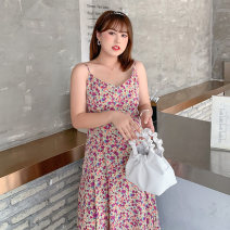 Women's large Summer 2021 First delivery of suspender skirt / Collection Plus purchase, first delivery of coat / Collection Plus purchase, first delivery of suspender skirt + coat set Large XL, 2XL, 3XL, 4XL Dress Two piece set commute Self cultivation thin Socket Long sleeves Korean version V-neck