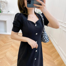 Women's large Summer 2021 Black / Collection Plus Priority Shipping Large XL, 2XL, 3XL, 4XL Dress singleton  commute easy thin Short sleeve Korean version square neck Medium length Three dimensional cutting routine L12ML20374 Mu Ling 25-29 years old Button Medium length Pleated skirt