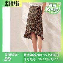 skirt Summer 2020 S,M,L,XL Black print Middle-skirt commute High waist A-line skirt Solid color Type A 25-29 years old S120QB51021 More than 95% Chiffon OSA other printing Simplicity