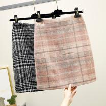 skirt Autumn 2020 S,M,L,XL Pink, black, gray Short skirt commute High waist skirt lattice Type A 91% (inclusive) - 95% (inclusive) other other zipper Retro