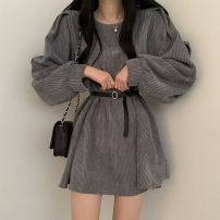 Dress Spring 2021 Grey, black, coffee Average size Middle-skirt singleton  Long sleeves commute Crew neck Loose waist Solid color puff sleeve 18-24 years old Korean version 51% (inclusive) - 70% (inclusive) polyester fiber