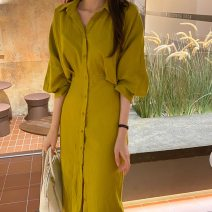 Dress Autumn 2020 Picture color Average size Mid length dress singleton  commute Polo collar High waist Solid color Single breasted bishop sleeve 18-24 years old Korean version 31% (inclusive) - 50% (inclusive) polyester fiber