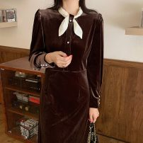 Dress Spring 2021 Black, brown Average size Mid length dress singleton  Long sleeves High waist puff sleeve 18-24 years old 31% (inclusive) - 50% (inclusive) polyester fiber