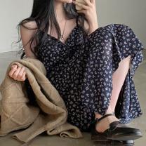 Dress Summer 2021 Dark blue, beige Average size Mid length dress singleton  Sleeveless commute V-neck High waist Decor camisole 18-24 years old Korean version 51% (inclusive) - 70% (inclusive) polyester fiber