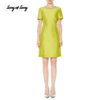 Dress Summer 2020 Fruit green orange Please consult tmall customer service for changing clothes. Don't shoot s / 36 m / 38 L / 40 XL / 42 XXL / 44 Mid length dress singleton  Short sleeve commute Crew neck High waist Solid color zipper A-line skirt routine Others 35-39 years old Type X Song of song