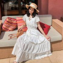 Dress Summer 2020 white S M L longuette singleton  Short sleeve Sweet Crew neck Elastic waist Solid color Socket Big swing routine Others 18-24 years old Type A BLUESTREAK Ⅱ Flounce cut out embroidered pleated auricular lace 9612A More than 95% cotton Cotton 100% Bohemia