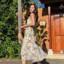 Dress Winter of 2019 Apricot S M L Mid length dress singleton  Sleeveless Sweet V-neck middle-waisted Broken flowers Socket Pleated skirt camisole 18-24 years old Type A BLUESTREAK Ⅱ Open back pleated lace up zipper print 9226A More than 95% Chiffon polyester fiber Polyester 100% Bohemia