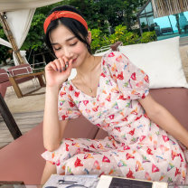 Dress Spring 2020 Pink Small beat big one yard s M L Short skirt singleton  elbow sleeve commute V-neck middle-waisted Broken flowers Socket A-line skirt puff sleeve Others 18-24 years old Type A BLUESTREAK Ⅱ lady Pleated button zipper print More than 95% Chiffon polyester fiber Polyester 100%