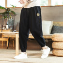 Casual pants Others Youth fashion Navy, black, gray, Navy (plush), black (plush), gray (plush) M,L,XL,2XL,3XL,4XL,5XL routine Ninth pants Other leisure easy No bullet spring youth Chinese style 2021 Little feet Haren pants Embroidery Ethnic style Cotton and hemp
