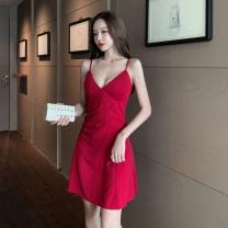 Dress Spring 2021 Black, red S,M,L Short skirt singleton