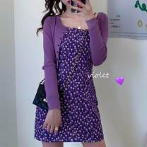 Dress Summer 2021 Picture color, breast wrapping S,M,L,XL,2XL Miniskirt singleton  Sleeveless commute other Broken flowers Socket A-line skirt other camisole Type A 30% and below other cotton