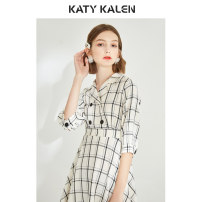 Dress Spring of 2019 Apricot lattice Mid length dress singleton  elbow sleeve commute tailored collar High waist lattice double-breasted Big swing routine Others 25-29 years old Type X Katy kalen Retro Bow tie button 51% (inclusive) - 70% (inclusive) other polyester fiber
