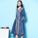 Dress Summer 2021 blue M,L,XL Mid length dress singleton  three quarter sleeve commute V-neck middle-waisted Solid color Single breasted A-line skirt routine 25-29 years old Type A Nordic Winds lady Lace up, stitching More than 95% Denim cotton