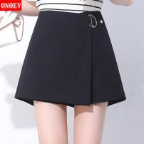 Casual pants Xhy-6675 black xhy-6675 apricot 19/S M/20 L/21 XL/22 XXL/23 XXXL/24 XXXXL/25 Summer of 2019 shorts Wide leg pants High waist Versatile ON-XHY6675 Onoev Polyester 100%