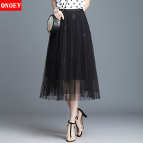 skirt Spring of 2019 Average size (85-140 kg) Mid length dress commute High waist Solid color Type A Onoev Retro