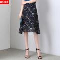 skirt Summer 2020 longuette commute High waist A-line skirt Decor Type A 25-29 years old Onoev printing