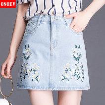 skirt Spring 2021 20/M L/21 XL/22 23/2XL 24/3XL 25/4XL Zs1253 skirt Short skirt commute High waist A-line skirt Solid color Type A ON-ZS 1253 Denim Onoev Embroidery