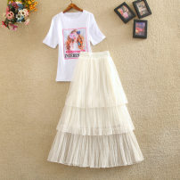 skirt Summer of 2019 S,M,L Top + skirt, one-piece top, one-piece skirt Mid length dress Versatile High waist Cake skirt Solid color Type A 25-29 years old Fashion skirt 51% (inclusive) - 70% (inclusive) Yi Meiyuan