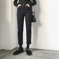 Women's large Korean version Ninth pants Spring 2020 commute singleton  trousers 8850 moderate Solid color Straight tube 18-24 years old Other Denim Stereoscopic cutting 81% (inclusive) - 90% (inclusive) Contains (9 oz) - 11 oz M【90-100】,L【100-120】,XL【120-140】,2XL【140-160】,3XL【160-180】,4XL【180-200】