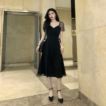 Dress Summer of 2019 Black, add the collection to the shopping cart, take photos and give small gifts S,M,L,XL Mid length dress singleton  Short sleeve commute V-neck High waist zipper Big swing Flying sleeve 18-24 years old Type A Roman fabric B