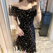 Dress Summer 2021 Black, recommended for collection, small gift for additional purchase S,M,L Short skirt singleton  Short sleeve commute One word collar High waist Broken flowers zipper A-line skirt routine Others Type A Lotus leaf edge Chiffon B