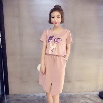 Dress Summer 2021 Pink, black, 1705 # pink, 1705 # yellow, collect, buy and give gifts (new on Saturday) M,L,XL,2XL,3XL,4XL,5XL Short skirt singleton  Short sleeve commute Crew neck Elastic waist character Socket other other 18-24 years old Type H Liang Xiaoer Korean version cotton