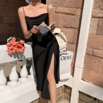 Dress Summer 2021 Elegant black, ice cream white, dry rose, elegant apricot, soft purple, mint green S,M,L,XL Middle-skirt singleton  Sleeveless commute other Solid color Irregular skirt routine Type A Korean version 51% (inclusive) - 70% (inclusive) Silk and satin Cellulose acetate