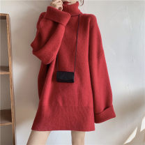 Women's large Spring 2021, autumn 2021 Red, blue XL [100-125 Jin], 2XL [125-150 Jin], 3XL [150-175 Jin], 4XL [175-200 Jin] sweater singleton  commute thickening Long sleeves Solid color Medium length acrylic fibres routine 25-29 years old