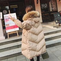 Women's large Winter 2021 khaki Big XL, big XXL, big L, big 3XL, big 4XL, big 5XL cotton-padded clothes singleton  commute easy thickening Cardigan Long sleeves Solid color Korean version Medium length cotton Three dimensional cutting raglan sleeve 339A9 pocket 96% and above zipper