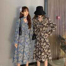 Dress Autumn 2020 Blue, black S,M,L longuette singleton  Long sleeves commute V-neck High waist Decor Socket A-line skirt routine 25-29 years old Type A Ezrin Korean version printing 30% and below other