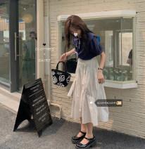 Fashion suit Summer 2021 Average size White shirt, blue shirt, white skirt, black skirt 18-25 years old 30% and below
