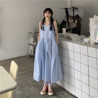 Dress Summer 2021 Blue, pink S, M Mid length dress singleton  Sleeveless commute V-neck Loose waist Solid color A-line skirt camisole 18-24 years old Type A Korean version 30% and below