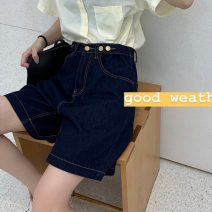 Jeans Summer 2021 navy blue S,M,L Pant High waist Wide legged trousers routine 18-24 years old washing Dark color 30% and below