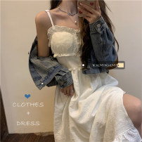Dress Summer 2021 White dress 8372, black dress 8372, denim blue coat 5382# S. M, average size Mid length dress singleton  Sleeveless commute One word collar High waist Solid color Socket routine 18-24 years old Type A Korean version 30% and below cotton