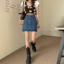 skirt Summer 2021 S,M,L Light blue, dark blue Short skirt commute High waist Irregular Type A 18-24 years old 30% and below Denim Korean version