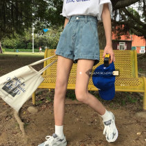 Jeans Summer 2021 blue S,M,L shorts High waist Straight pants routine 18-24 years old washing light colour 30% and below