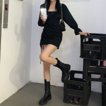 Dress Summer 2021 black S,M,L Short skirt singleton  Long sleeves commute square neck High waist Solid color Socket pagoda sleeve 18-24 years old Type H Korean version Pleating 30% and below other