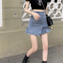 skirt Spring 2021 S,M,L Wash blue Short skirt commute High waist A-line skirt Solid color Type A 18-24 years old 30% and below fold Korean version